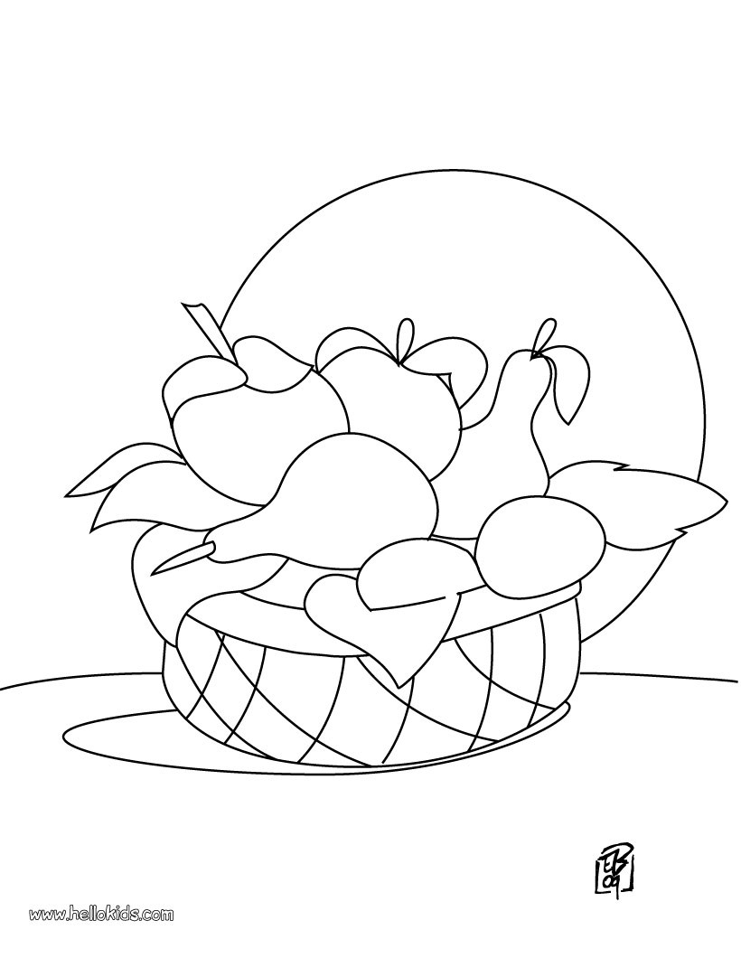 Galerry coloring page of a fruit basket
