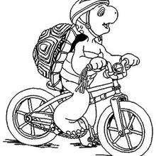 Franklin mit Fahrrad zum Ausmalen