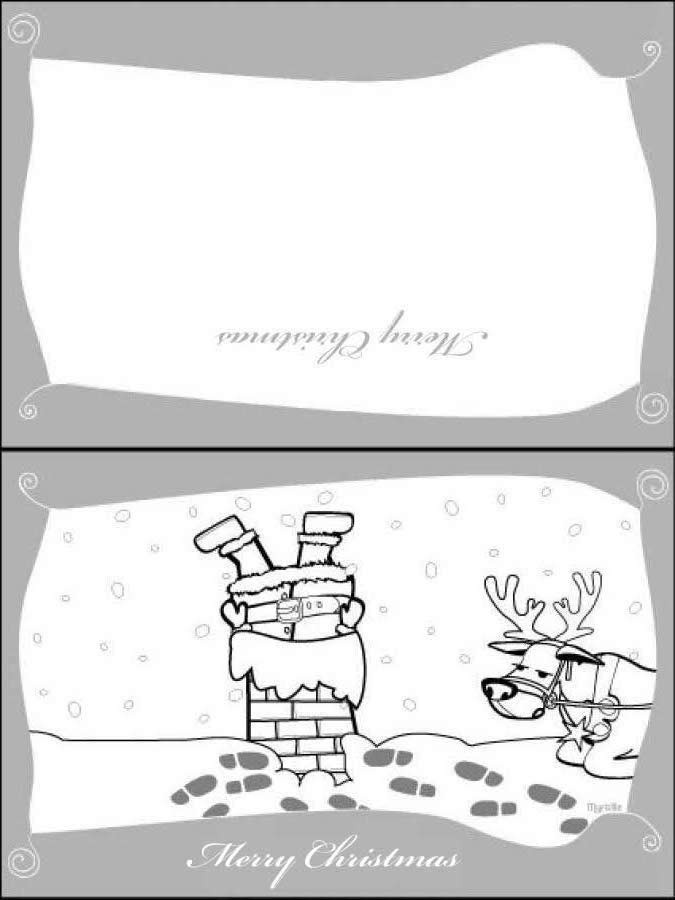 Weihnachtsmann mit Rentier Grußkarte