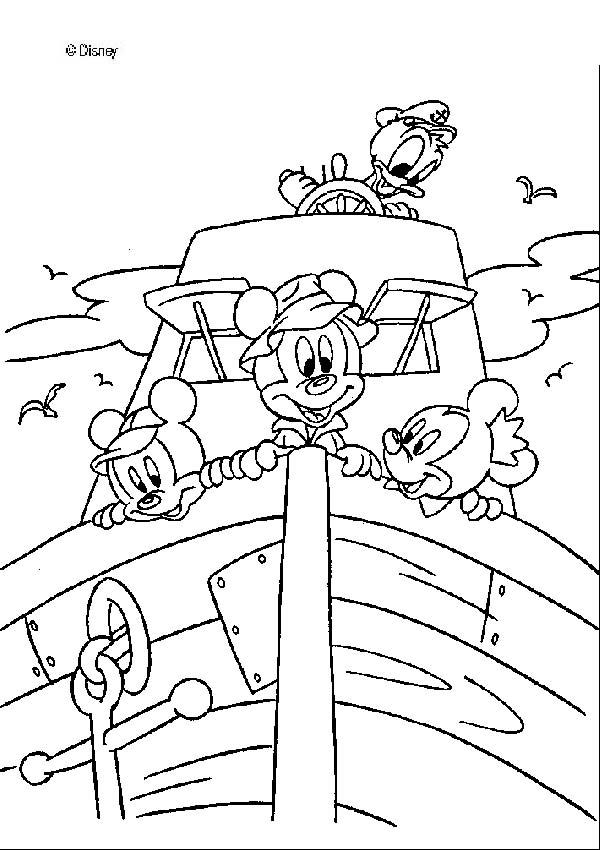 Donald Duck und Micky Maus auf einem Boot