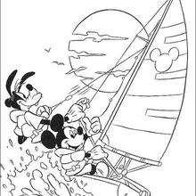 Micky Maus und Goofy Goof segeln