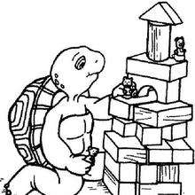 Harriet Schildkröte mit Spielzeug zum Ausmalen
