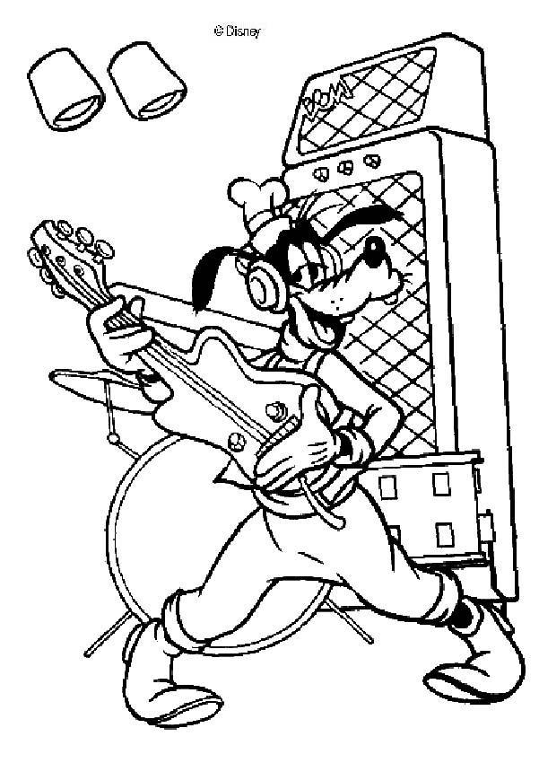 Goofy Goof Spielt Gitarre Zum Ausmalen De Hellokids Com