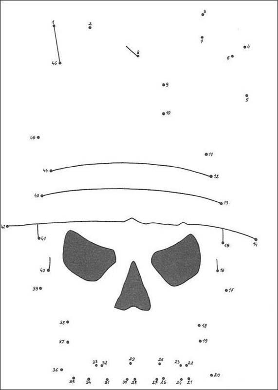 Gruseliger Totenkopf Punkte verbinden