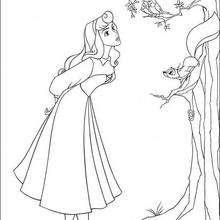 Prinzessin Aurora singt mit Vögeln