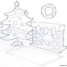 Kamin und Weihnachtsbaum zum Ausmalen