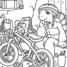 Herriet Schildkröte mit Fahrrad zum Ausmalen