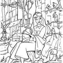 Prinzessin Aurora mit Waldtieren