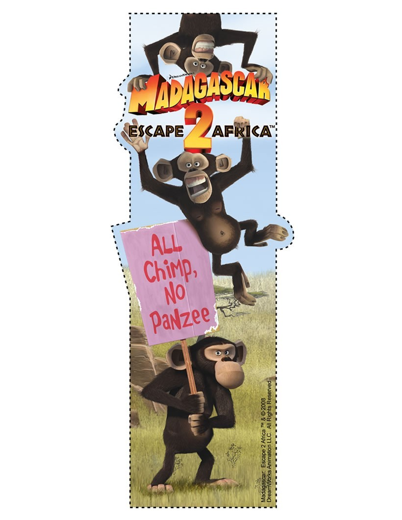 Die Schimpansen aus Madagascar Lesezeichen
