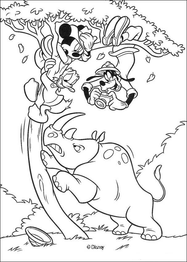 Micky Maus, Donald Duck, Goofy Goof und das Nashorn
