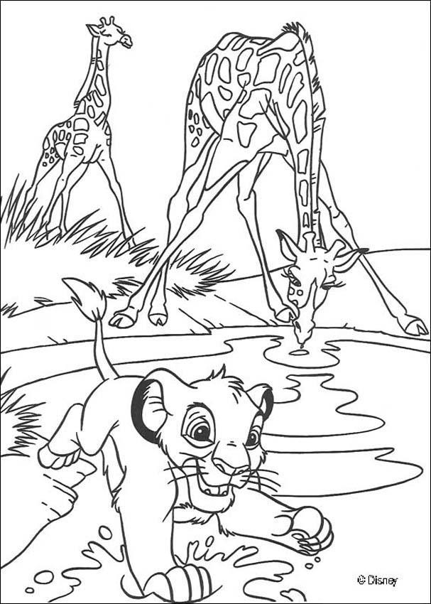 Simba Mit Giraffen Zum Ausmalen De Hellokids Com