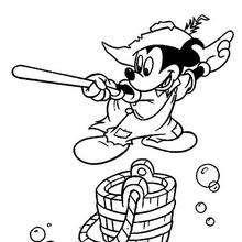 Micky Maus mit einem Schwert