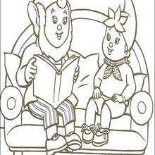 Noddy liest ein Buch mit Großohr