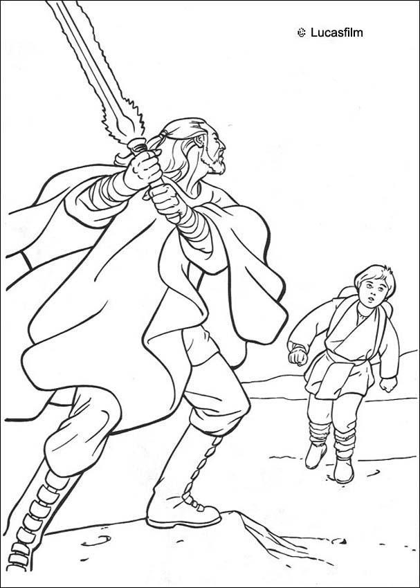quigon jinn und anakin zum ausmalen  dehellokids