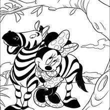 Minnie Maus mit einem Zebra