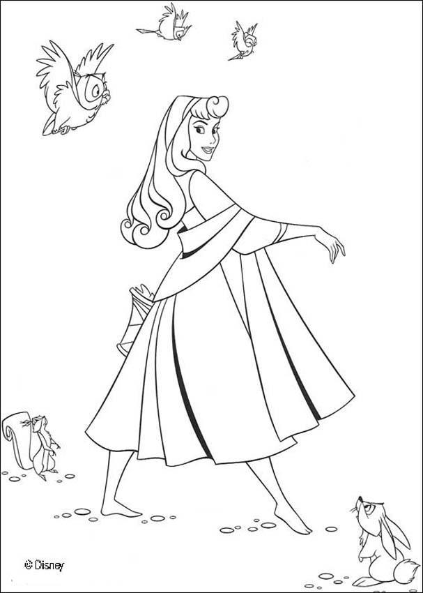 Prinzessin Aurora Mit Tieren Zum Ausmalen De Hellokids Com