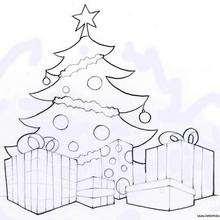 Weihnachtsbaum und Geschenke zum Ausmalen