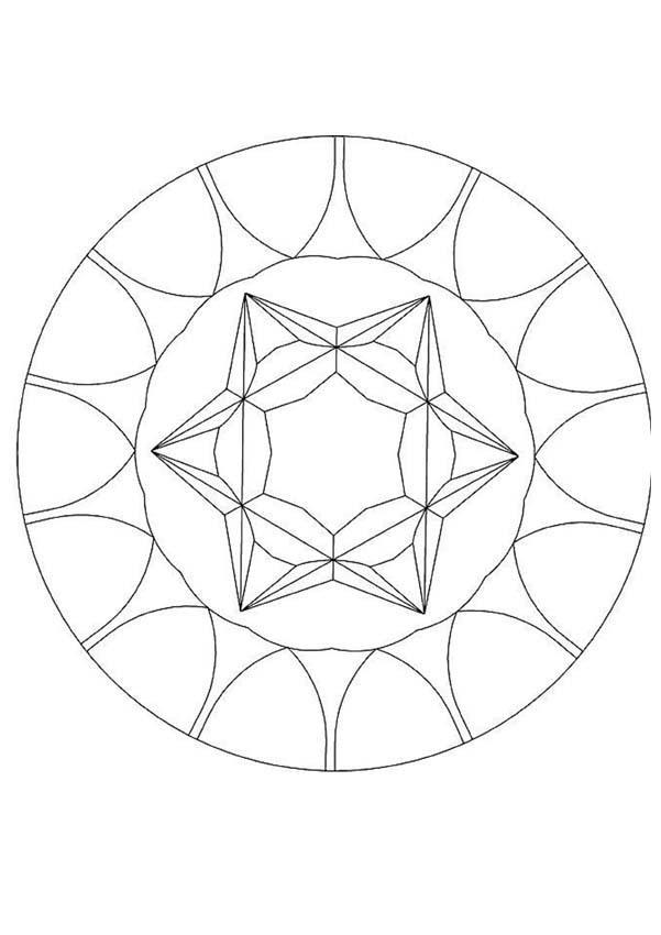Edelstein Mandala zum Ausmalen