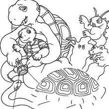 Harriet Schildkröte mit Monstern zum Ausmalen