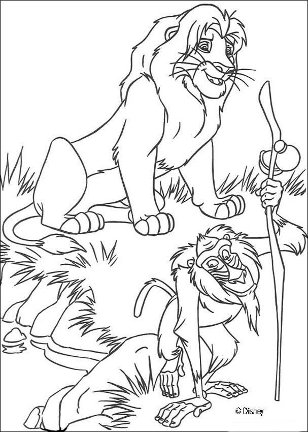 Ausmalbilder König Der Löwen: Simba Mit Rafiki Zum Ausmalen