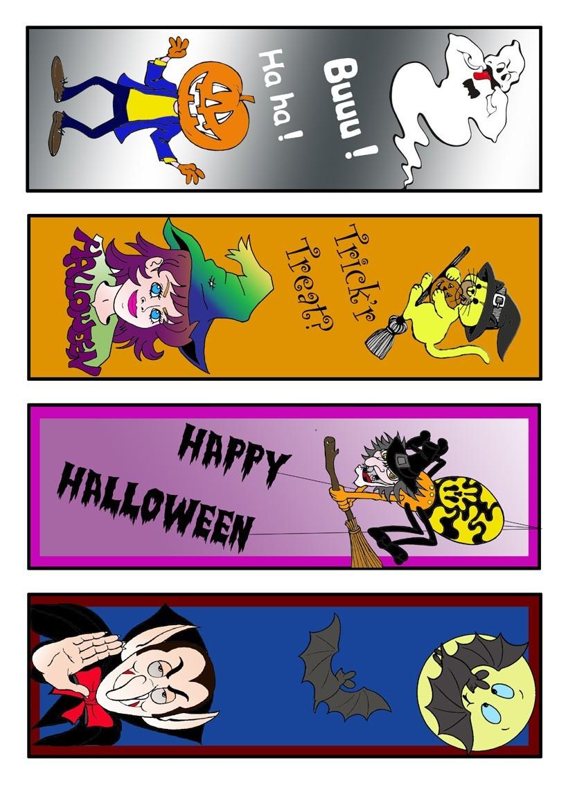 Buntes Halloween Lesezeichen