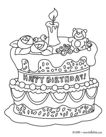 Geburtstagskuchen zum ausmalen zum ausmalen - de.hellokids.com