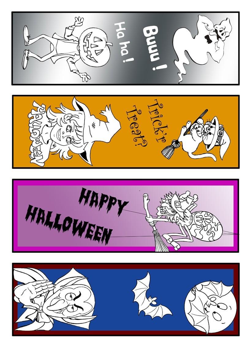 Halbausgemaltes Halloween Lesezeichen