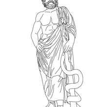 ASCLEPIUS der griechische Gott der Medezin zum Ausmalen