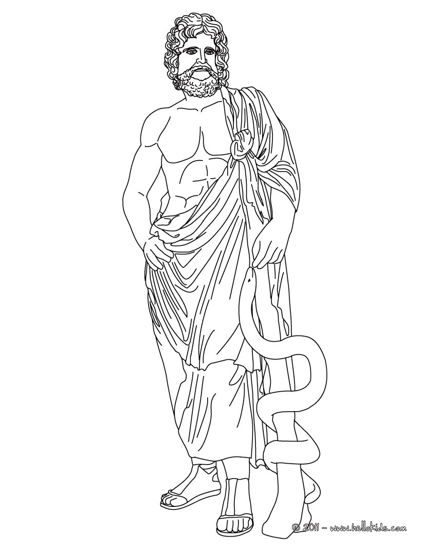 Asclepius der griechische gott der medezin zum ausmalen for Hades coloring page