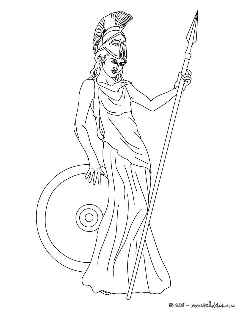 greek goddess gaia coloring pages | Athena griechische göttin der weisheit zum ausmalen zum ...