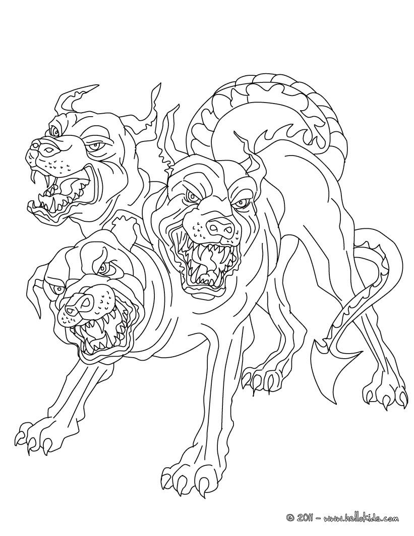 Cerberus der dreik pfige h llenhund des hades zum ausmalen for Hades coloring page