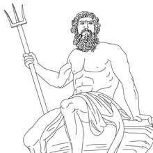 POSEIDON der griechische Meergott zum Ausmalen