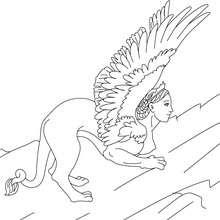 SPHINX die monströse Löwin mit Frauenkopf zum Ausmalen
