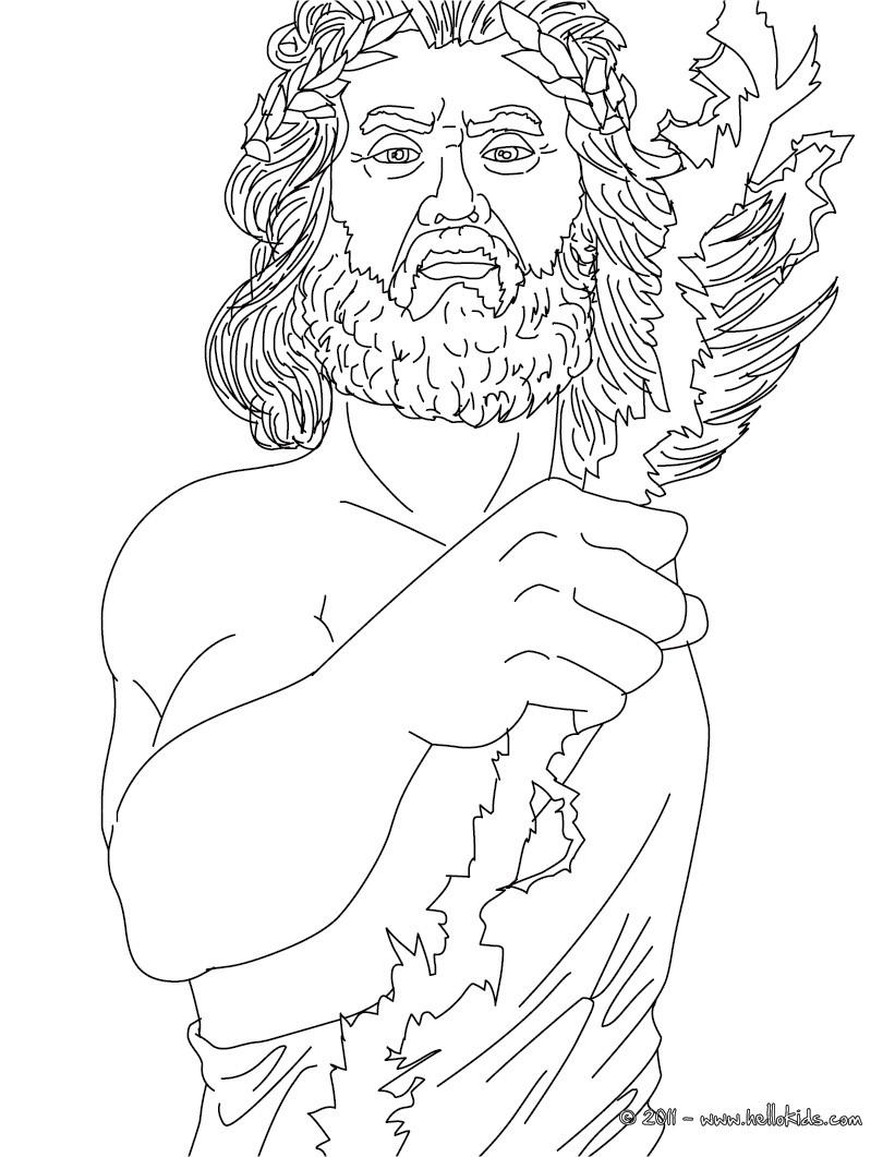Zeus der griechische k nig der g tter zum ausmalen zum for Zeus coloring page