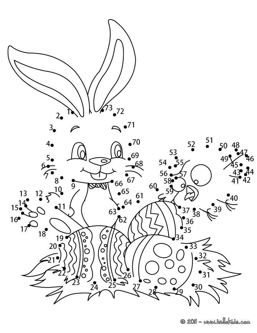 Osterhase und Eier Punkte verbinden