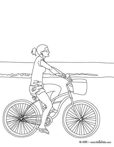 Mädchen Fährt Fahrrad Zum Ausmalen Zum Ausmalen De Hellokids Com