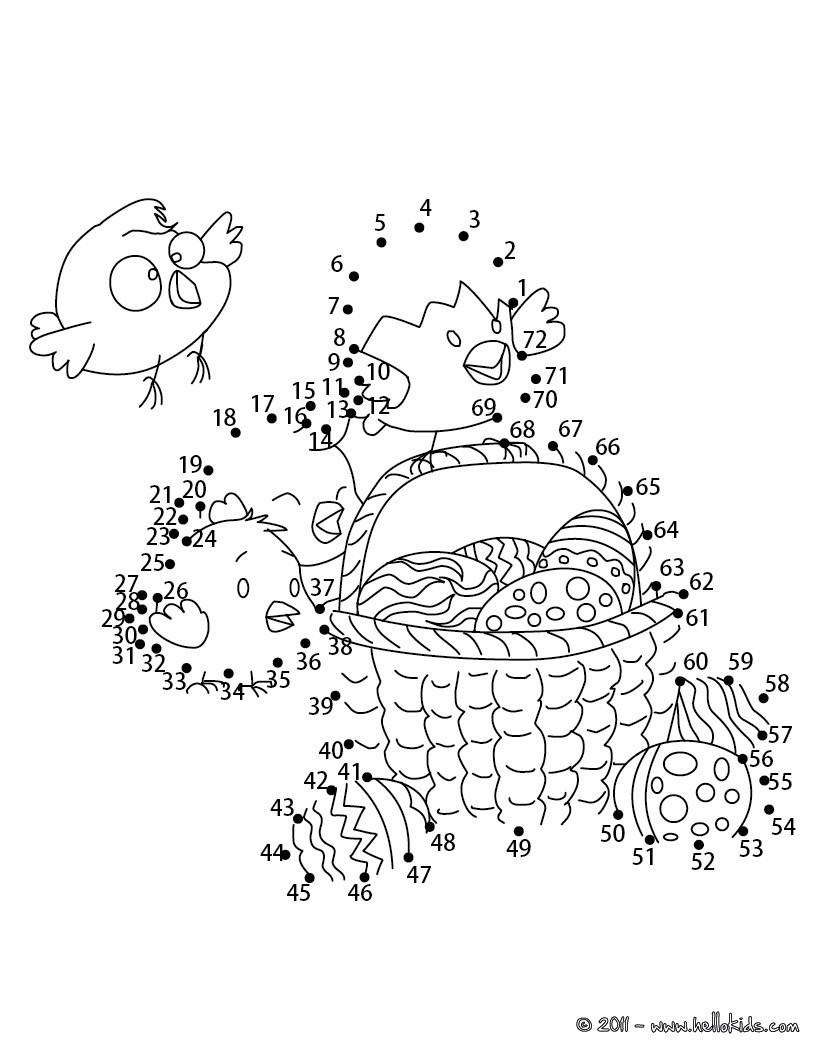 Ostereier und Küken Punkte verbinden