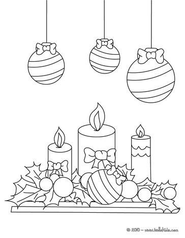 Weihnachtskugeln Und Kerzen Zum Ausmalen Zum Ausmalen De Hellokids Com