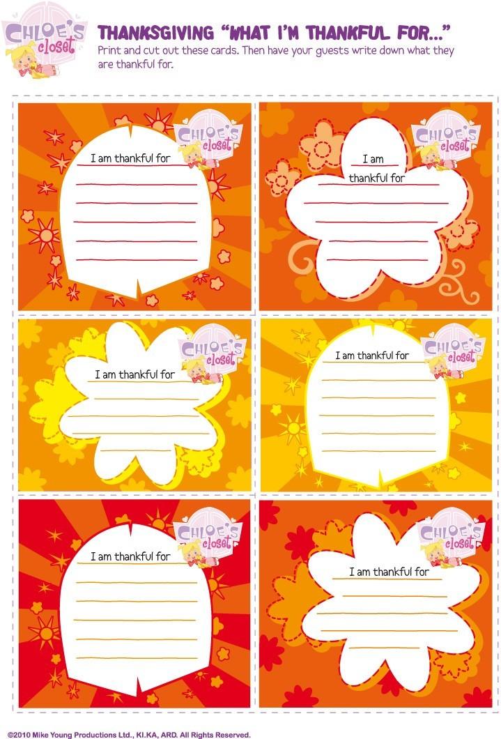 Chloes Thanksgiving: Dankeskarten