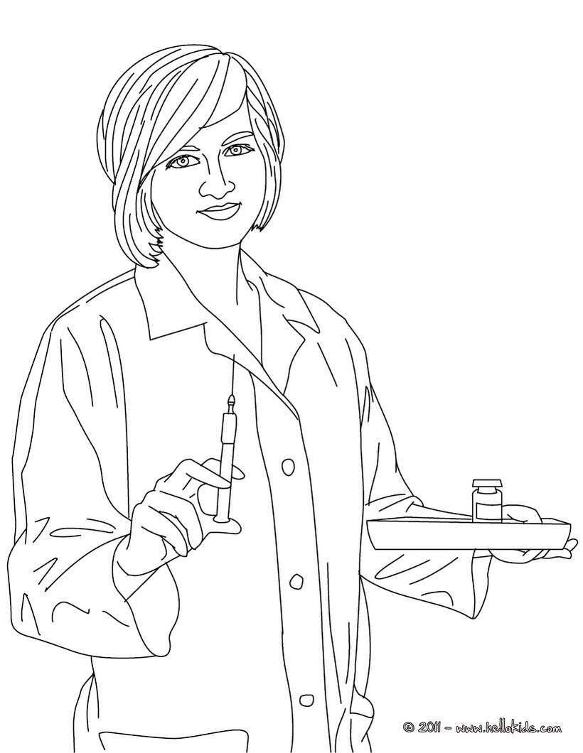 Krankenschwester Bereitet Die Medizin Vor Zum Ausmalen Zum