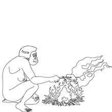 Homo Erectus grillt Fleisch