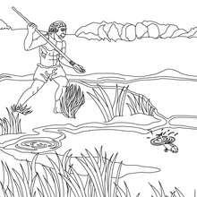 Homo Erectus beim Fischen