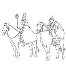 Sankt Nikolaus und Knecht Ruprecht auf Pferden