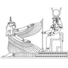 MAAT und ISIS ägyptische Göttinnen Malbogen