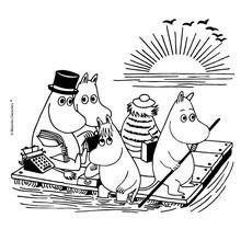 Mumins im Boot