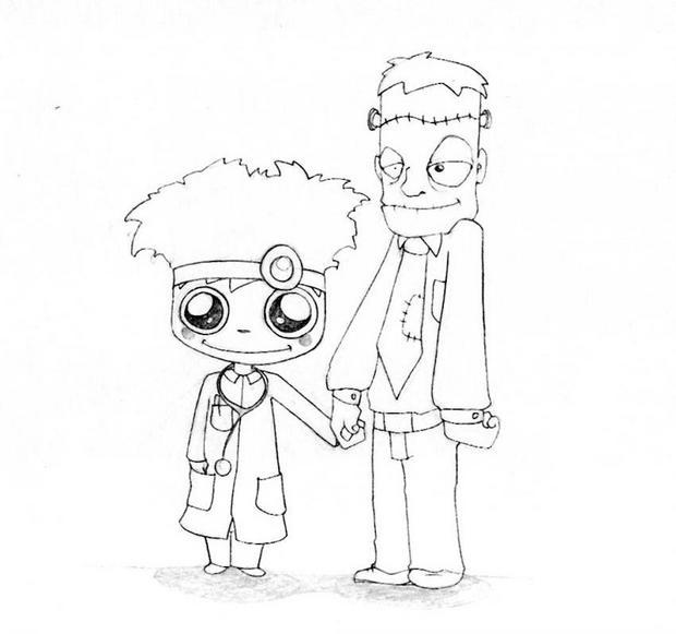 Frankenstein : Ausmalbilder, Basteln, Videos für Kinder, Lesen ...