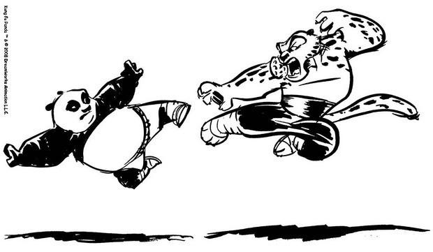 Kung Fu Panda Duelliert Mit Tigress Zum Ausmalen De Hellokids Com