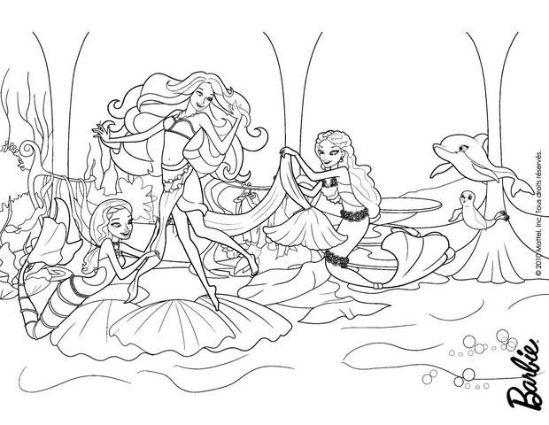 ausmalbilder meerjungfrau barbie  coloring and drawing