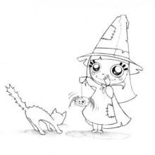 Ängstliche Halloweenkatze zum Ausmalen