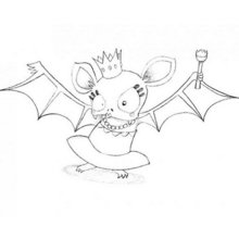 Halloween Fledermauskönigin zum Ausmalen